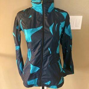 Lululemon jacket black and blue women's size 4 light weight w hood that zips up
